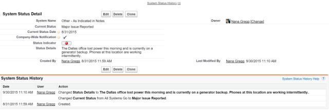 System Status Record